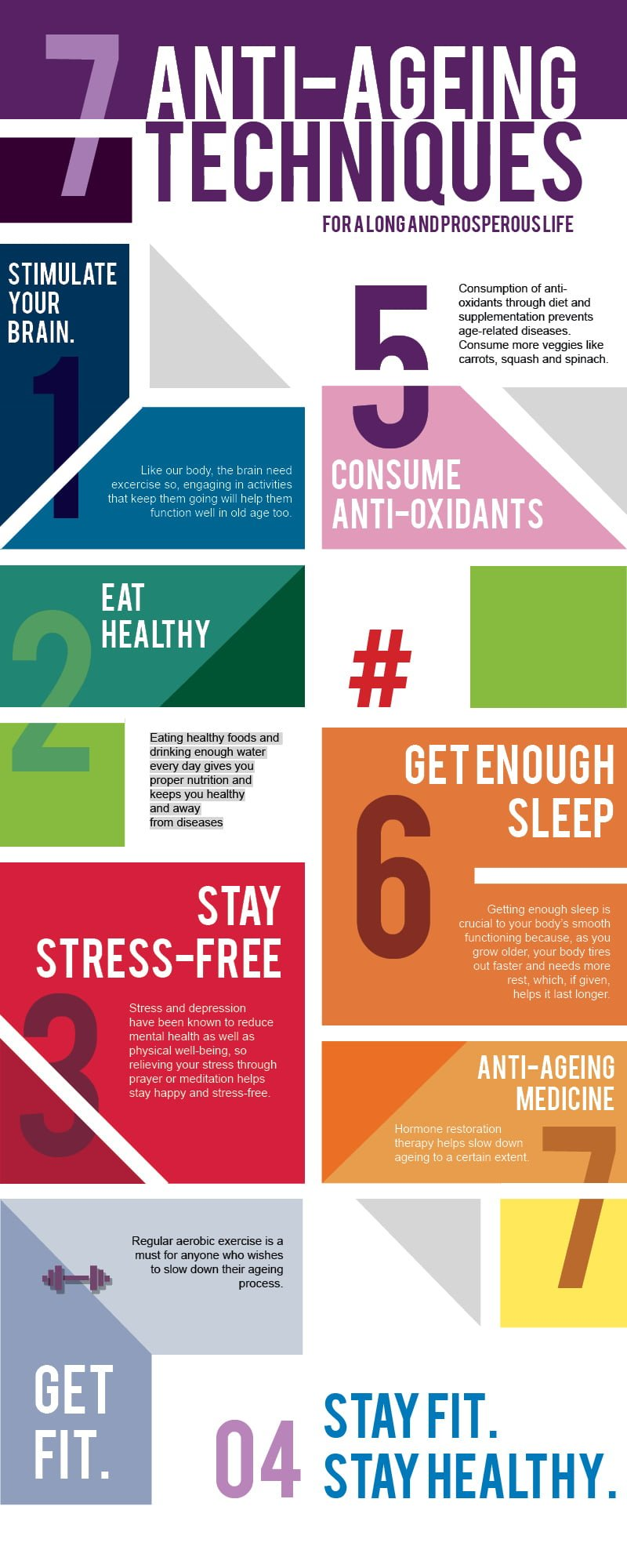 Infographic - Top 7 best anti-ageing tips techniques which keeps you fit