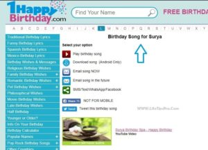 happy birthday song generators with name